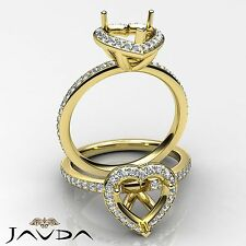 Halo Pave Diamond Engagement Heart Proposed Ring 14k Yellow Gold Semi Mount 1Ct