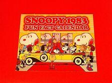 VINTAGE PEANUTS SNOOPY CALENDAR FUN FACT 1983 CHARLIE BROWN SCHULZ COMIC STRIP