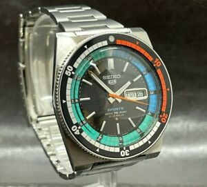 Seiko 5 Sport Rally Diver Automatic 6119-6053 21 Jewels Black Water 70 Resist