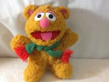 """Vintage 1987 Henson Associates Baby Fozzie Bear 9"""" Plush With Green Scarf has Re"""