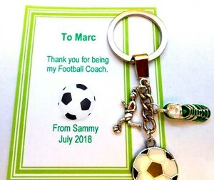 Thank you Gift for Football Coach or Team Trainer Key ring Personalised card