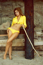Raquel Welch posing on beach yellow bikini 11x17 Mini Poster