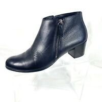 Ecco Women's Ankle Boots Black Embossed Leather Side Zip Heel Size 41 US 10-10.5