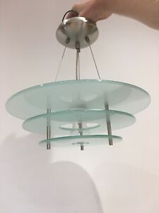 NEXT Silver Brushed Chrome 3 Disc Ceiling Light Frosted Green Glass Wire Circle