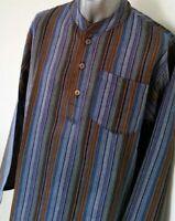 Men's Grandad Collar Shirt - Long Sleeve Summer Cotton Stripe Hippie Casual Tops