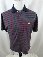 Brooks Brothers Men's 346 Large Red Blue White Striped Short Sleeve Polo Shirt