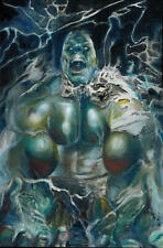 MIELAN ZEBROWSKI INCREDIBLE HULK ORIGINAL ART PINUP PAINTING OIL ON CANVAS WRAP