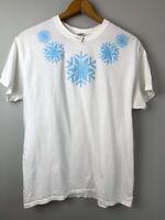 Womens Disney Frozen Elsa Shirt White T Shirt with Snowflakes Size Large