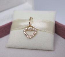 New Pandora 14K Gold 18 Diamonds Be My Valentine Heart Pendant Charm 350136D BOX