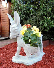 Tierfigur Esel 86 cm bepflanzbar, Gartendeko, Skulptur, Steinguss, Gartenfiguren