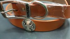 Orange Leather Dog Collar with Idaho Vandals Conchos Size 26