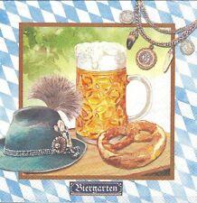 2 Serviettes en papier Bière Bretzel Bavière Paper Napkins Beer garden Pretzel