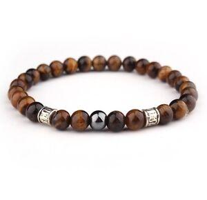 Mens Tigers Eye and Tibetan charms Gemstone Bracelet  6mm