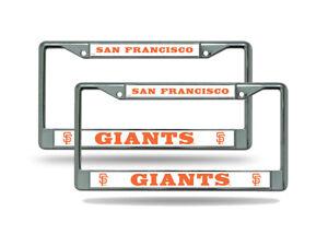San Francisco SF Giants MLB Chrome Metal (2) License Plate Frame Set