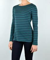 Seasalt Womens Sailor Shirt Green Navy Breton Stripe Ladies Cotton Casual Top