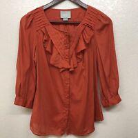 Anthropologie Maeve Size 4 Nicoletta Orange Top Blouse Ruffle Rust Peasant Boho