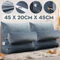 2X 18'' Triangular Wedge Lumbar Pillow Support Cushion Sofa Rest Headboard Grey