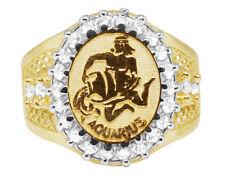 Men's Real 10K Yellow Gold Lab Diamond Aquarius Water Zodiac Designer Pinky Ring
