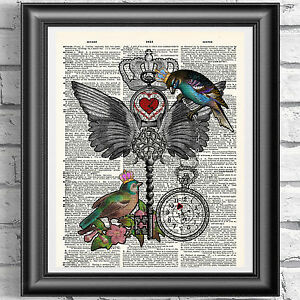 ART Print on DICTIONARY ANTIQUE BOOK PAGE Birds Crown Love Key