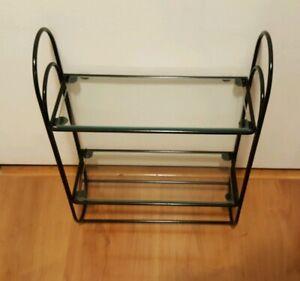 "2 Tier Bathroom Iron Wall Shelf, Black Metal Glass Shelves, Two Towel Bars 17.5"""