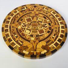 Gorgeous Wooden Aztec Calendar Hand-Carved