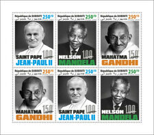 More details for djibouti famous people stamps 2020 mnh gandhi pope john paul ii mandela 6v m/s