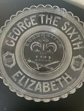More details for vintage cut glass royal king george sixth coronation plate 1937