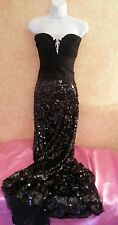 Hollywood Glam Black Lace Corset Sequin Wrap Maxi Skirt Dress Bridal Gown