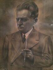 Portrait d'homme dessin fusain signé D.Berchadsky