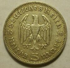 Germany Nazi 5 Reichsmark 1936 D .900 Silver 740