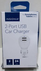 Insignia- 24 W Vehicle Charger with 2 USB Ports - White