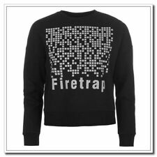 Firetrap Womens Reflective Cropped Crew Sweater Size 12 Uk BNWT RRP £36.99 Black