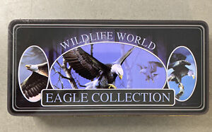 Wildlife World Eagle Collection Folding Knife Set Case Stainless Steel 4pc
