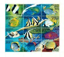 VINTAGE CLASSICS - MALDIVES SC# 1868 Reef Fish Sheet of 12 - MNH