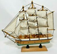 """Wooden Ship Sail Boat Painted Nautical Home Decor Desk Table Office 5.5""""H x 5.5"""""""
