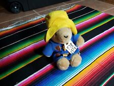 "Vintage Eden Paddington Bear Plush 10"" Pellet Stuffed Blue Coat Yellow Hat"