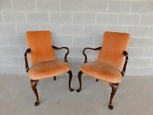 BIGGS Queen Anne Mahogany Fireside Arm Chairs - Pair