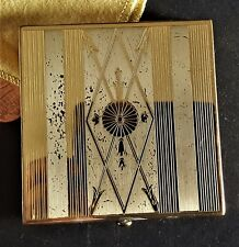 Vintage 1930's Wadsworth Ladies Powder Compact ART DECO Brass with Puff & Powder