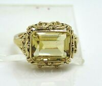Vintage Citrine Emerald Cut 12.00ct. Solid Yellow Gold 14k. UK Ring Size L 1/2