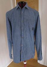 JACK & JONES Core Blue Stripe MAISON long Sleeve Shirt UK M