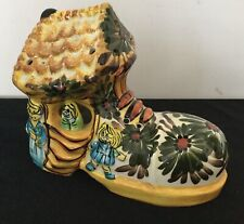 VINTAGE Derek Fowler Studio Pottery Yellow Shoe Boot ~ 1970's RARE