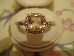 Beautiful 9CT Rose Gold: Peach Morganite Gemstone & Sparkling Crystals Set Ring