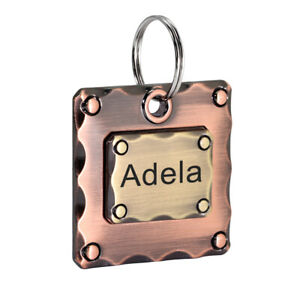Square Personalized Dog Tags Disc Engraved Heavy Duty ID Name Tags for Pit Bull