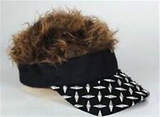 FLAIR HAIR HATS WITH HAIR BLACK PLATE VISOR BROWN HAIR QUALITY SURF PARTY RAVE