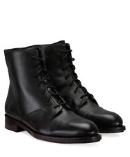 FINERY Hadleigh Women's Black Leather Military-Style Boots. Size UK 9 / EU 42
