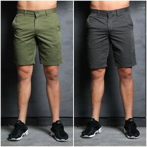 SIMPLY JEANS Mens Summer Chino Shorts Grey/Olive/Pink - Stylish Comfortable