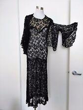 30s VINTAGE GOTHIC FLAPPER BLACK LACE DRESS w MATCHING BELL SLEEVE BOLERO XS-S