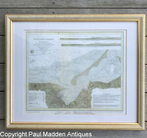 Framed Reproduction Map of Nantucket Harbor 1866