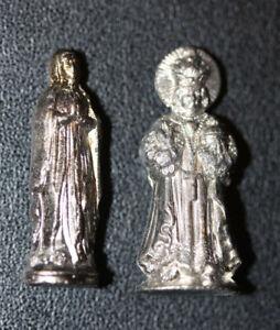 """WW1 Lot de 2 statuettes """"Vierges de Poilu"""" Ste Bernadette - Jésus de Prague WWI"""