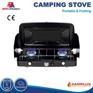Camplux Folding 2 Burner Gas Camping grill Camp Stove Portable LPG Outdoor BBQ